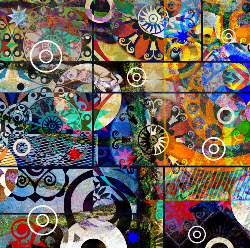 Abstract digital painting colorful graffiti collage for Digital mural wallpaper
